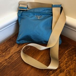 Prada Turquoise nylon cross body Tessuto.